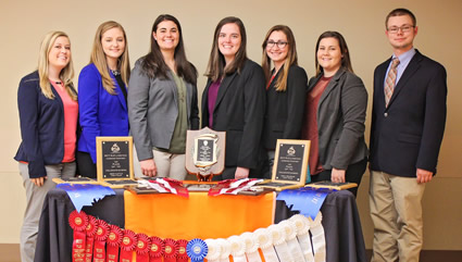 Members of the Livestock Judging Team pose with awards