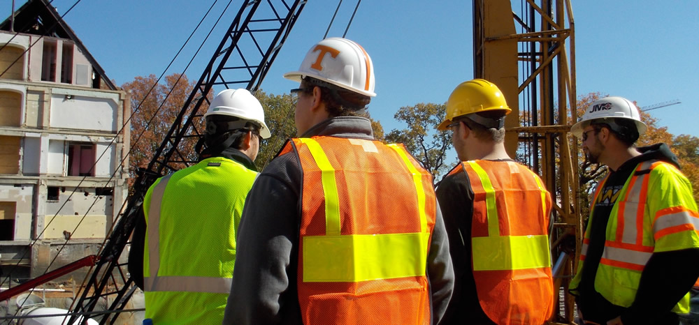 Construction Science students on a worksite